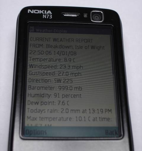 Weather reports straight to your wap enabled mobile.